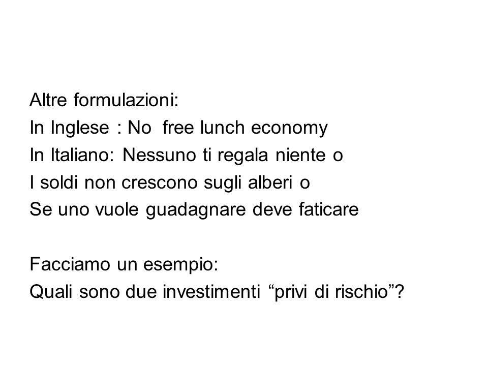 Altre formulazioni: In Inglese : No free lunch economy In Italiano: Nessuno ti regala niente o I soldi non crescono sugli alberi o Se uno vuole guadagnare deve faticare Facciamo un esempio: Quali sono due investimenti privi di rischio