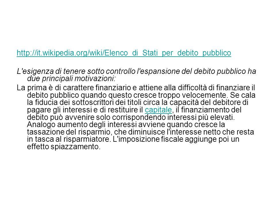 http://it.wikipedia.org/wiki/Elenco_di_Stati_per_debito_pubblico L esigenza di tenere sotto controllo l espansione del debito pubblico ha due principali motivazioni: La prima è di carattere finanziario e attiene alla difficoltà di finanziare il debito pubblico quando questo cresce troppo velocemente.