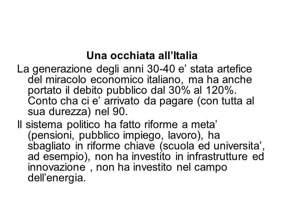 Una occhiata all'Italia La generazione degli anni 30-40 e' stata artefice del miracolo economico italiano, ma ha anche portato il debito pubblico dal 30% al 120%.