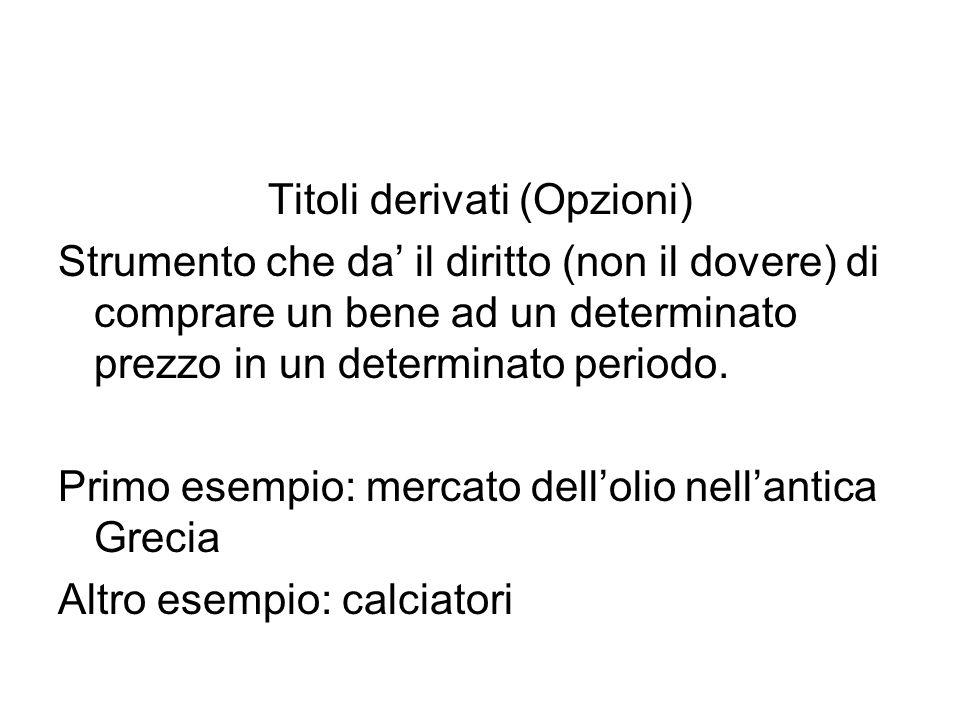 Titoli derivati (Opzioni) Strumento che da' il diritto (non il dovere) di comprare un bene ad un determinato prezzo in un determinato periodo.