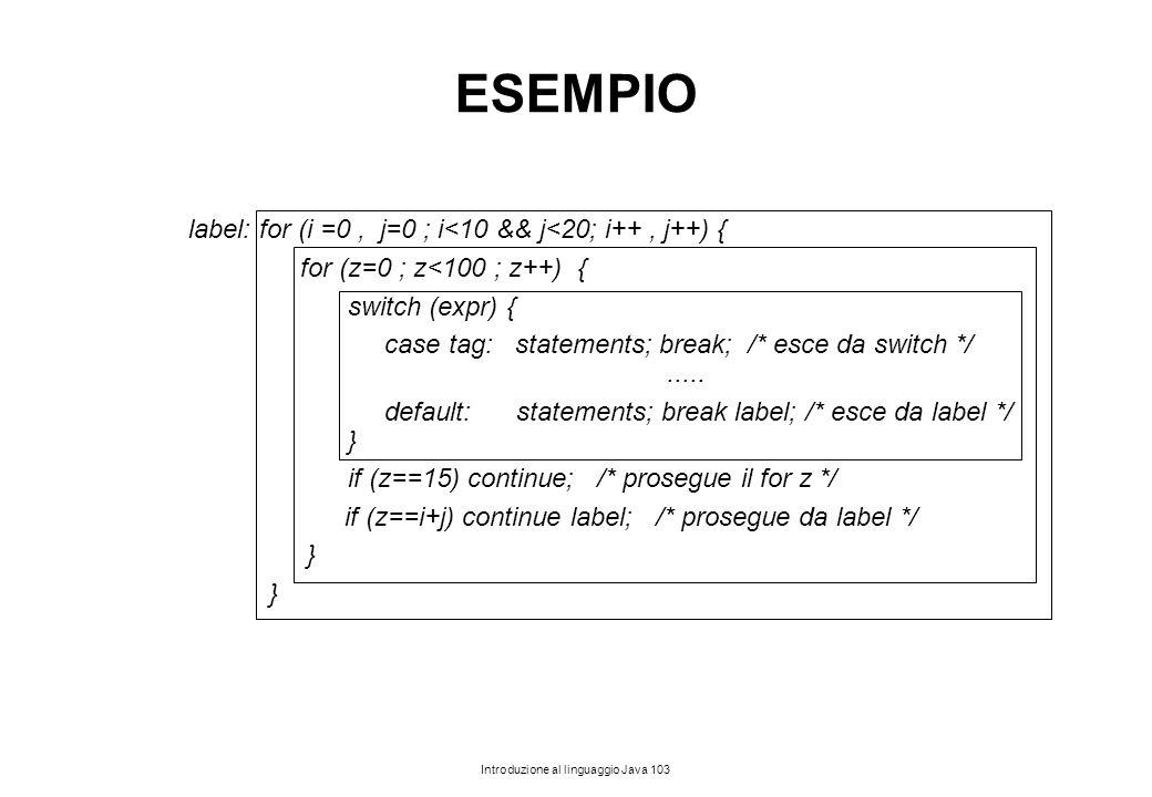 Introduzione al linguaggio Java 103 ESEMPIO label: for (i =0, j=0 ; i<10 && j<20; i++, j++) { for (z=0 ; z<100 ; z++) { switch (expr) { case tag: stat