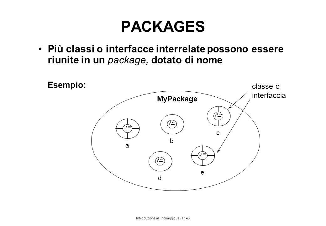 Introduzione al linguaggio Java 145 PACKAGES Più classi o interfacce interrelate possono essere riunite in un package, dotato di nome Esempio: c e b d
