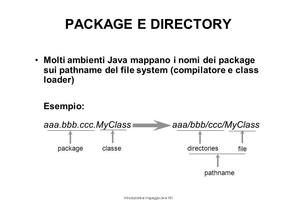Introduzione al linguaggio Java 151 PACKAGE E DIRECTORY Molti ambienti Java mappano i nomi dei package sui pathname del file system (compilatore e cla