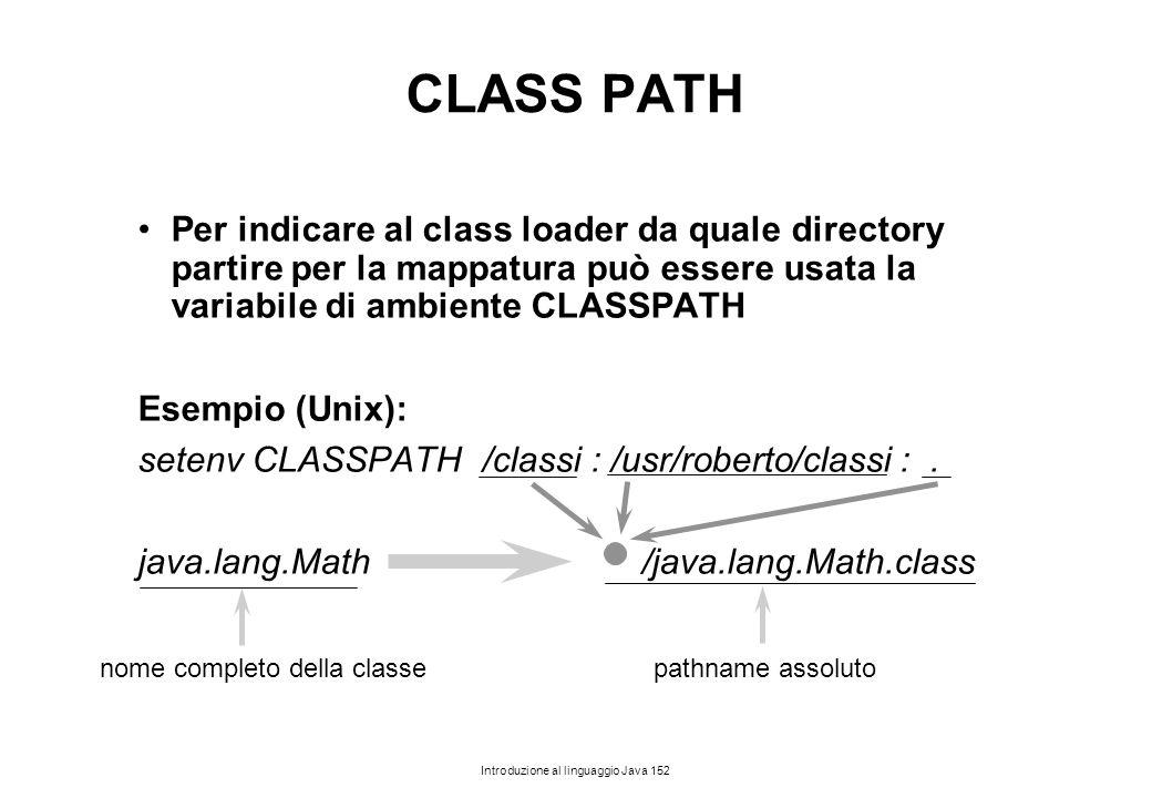 Introduzione al linguaggio Java 152 CLASS PATH Per indicare al class loader da quale directory partire per la mappatura può essere usata la variabile