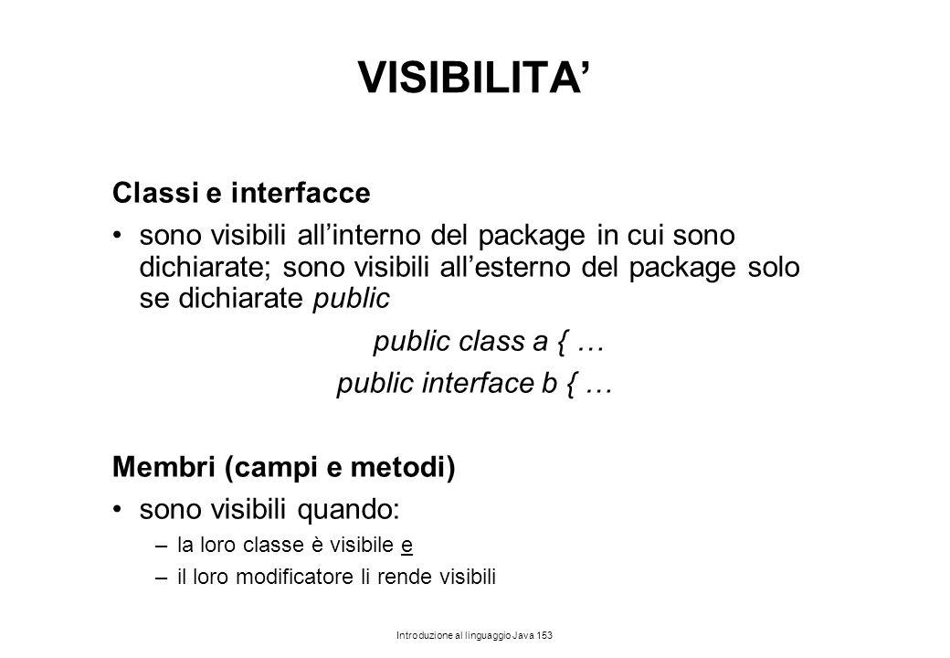 Introduzione al linguaggio Java 153 VISIBILITA' Classi e interfacce sono visibili all'interno del package in cui sono dichiarate; sono visibili all'es