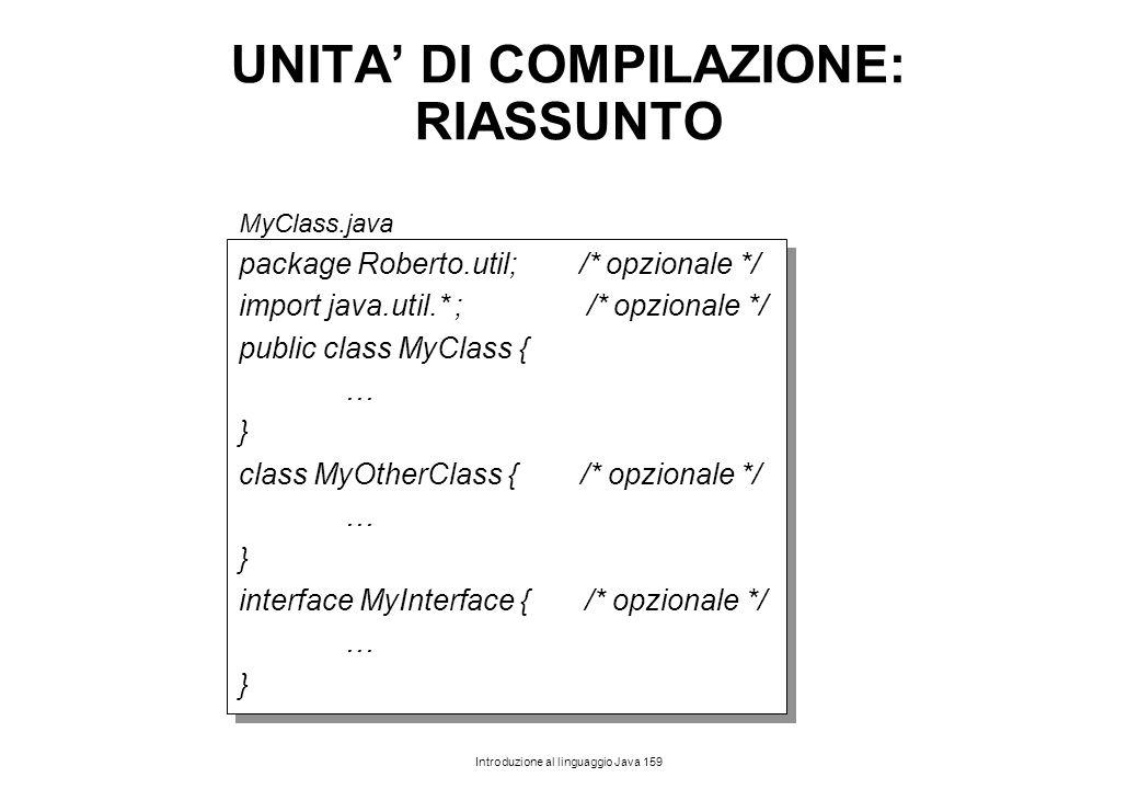 Introduzione al linguaggio Java 159 UNITA' DI COMPILAZIONE: RIASSUNTO MyClass.java package Roberto.util; /* opzionale */ import java.util.* ; /* opzio