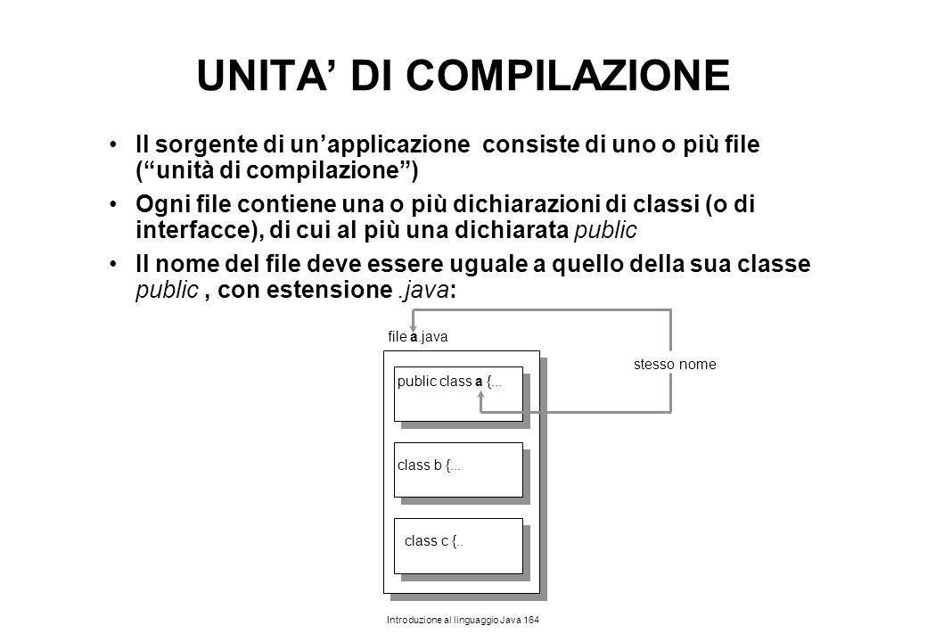 """Introduzione al linguaggio Java 164 UNITA' DI COMPILAZIONE Il sorgente di un'applicazione consiste di uno o più file (""""unità di compilazione"""") Ogni fi"""