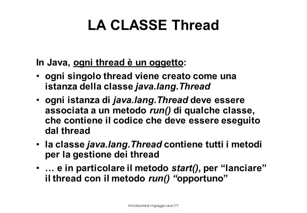 Introduzione al linguaggio Java 171 LA CLASSE Thread In Java, ogni thread è un oggetto: ogni singolo thread viene creato come una istanza della classe