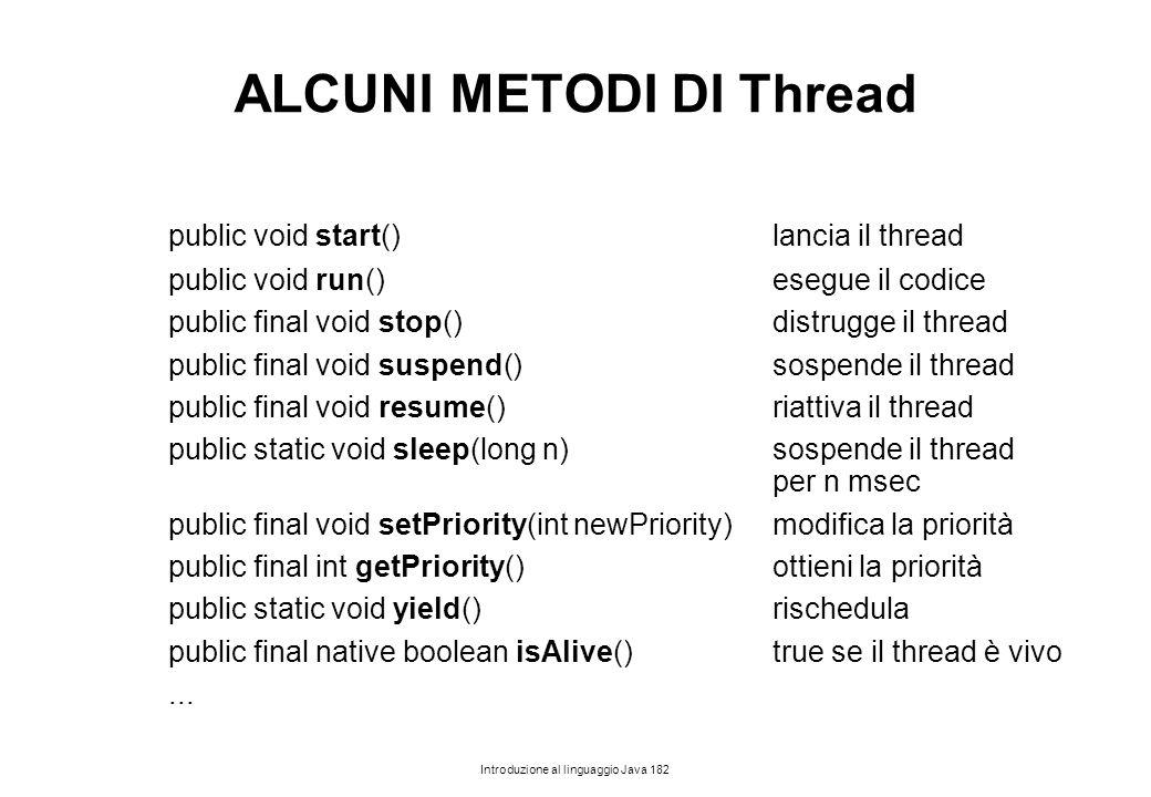 Introduzione al linguaggio Java 182 ALCUNI METODI DI Thread public void start()lancia il thread public void run()esegue il codice public final void st