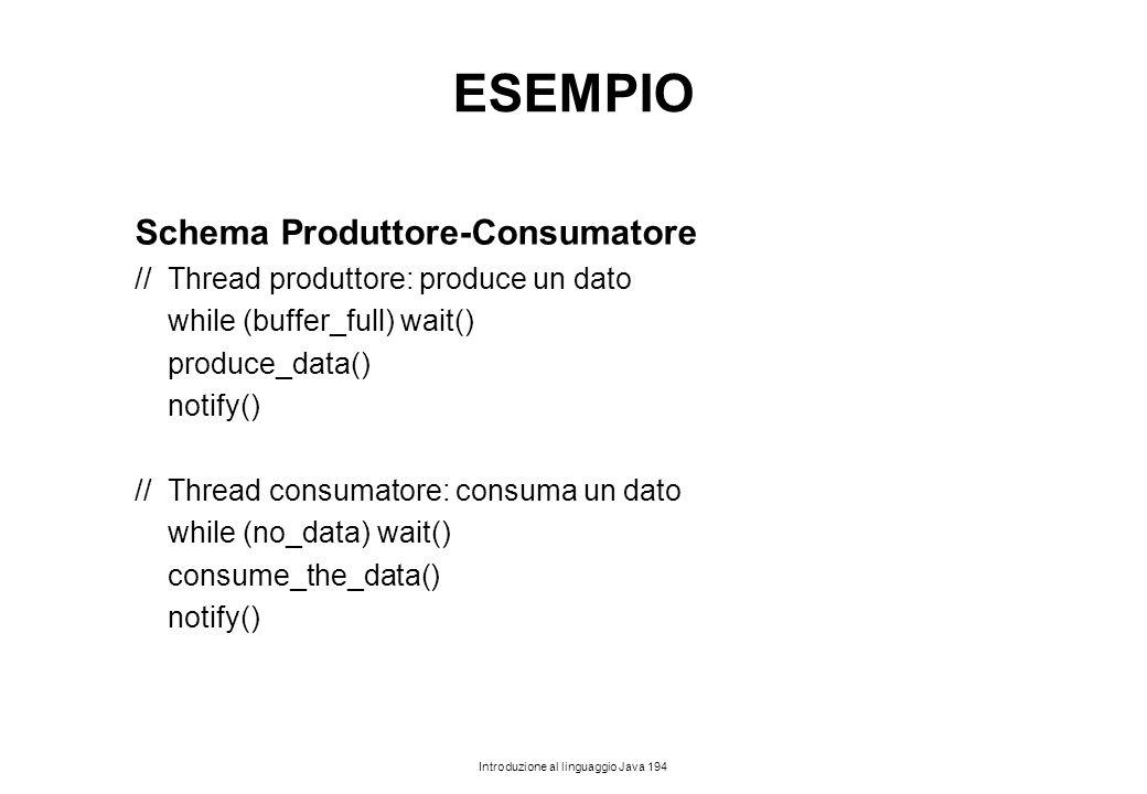 Introduzione al linguaggio Java 194 ESEMPIO Schema Produttore-Consumatore // Thread produttore: produce un dato while (buffer_full) wait() produce_dat