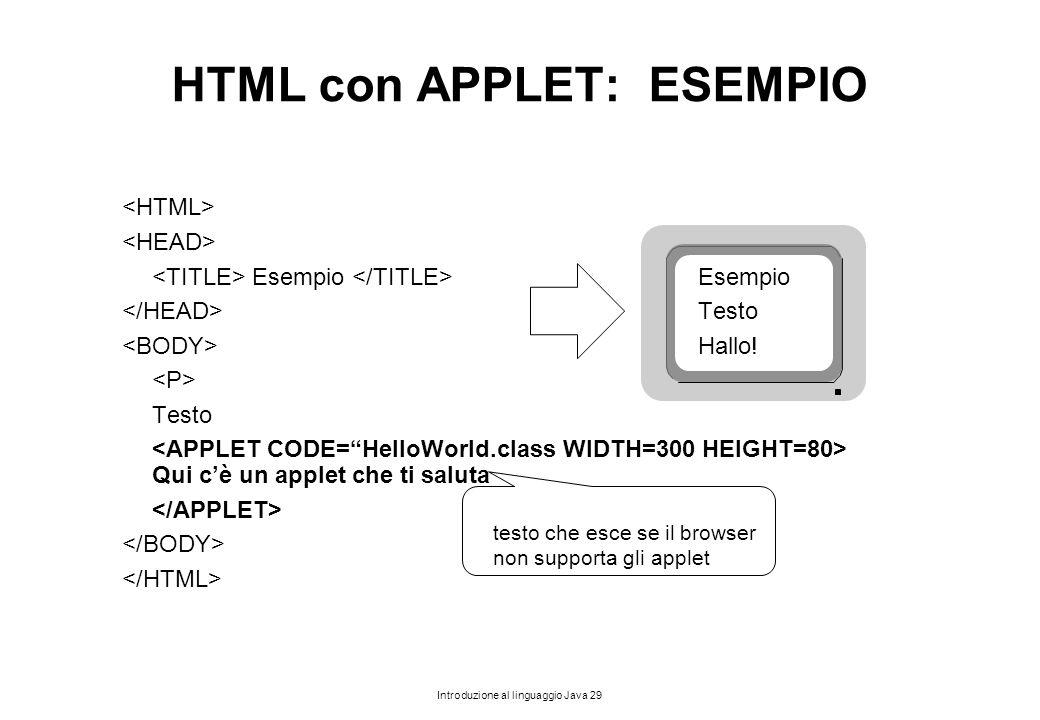 Introduzione al linguaggio Java 29 HTML con APPLET: ESEMPIO Esempio Esempio Testo Hallo! Testo Qui c'è un applet che ti saluta testo che esce se il br