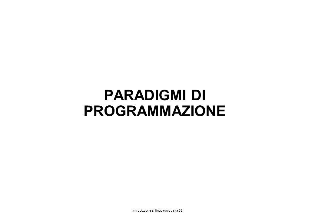 Introduzione al linguaggio Java 33 PARADIGMI DI PROGRAMMAZIONE
