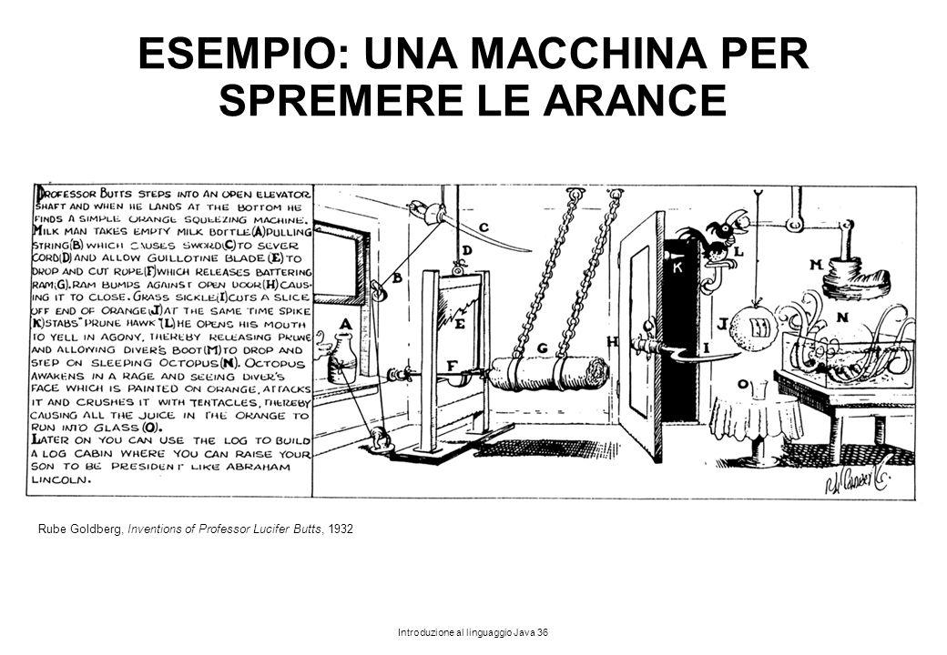 Introduzione al linguaggio Java 36 ESEMPIO: UNA MACCHINA PER SPREMERE LE ARANCE Rube Goldberg, Inventions of Professor Lucifer Butts, 1932