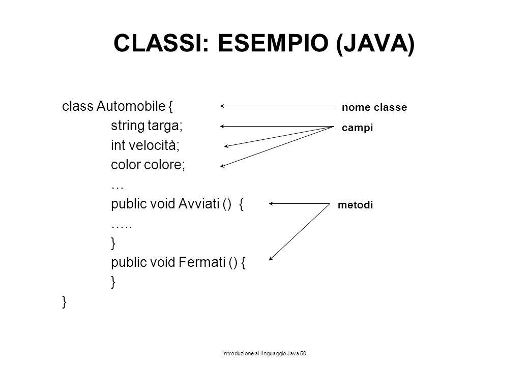Introduzione al linguaggio Java 50 CLASSI: ESEMPIO (JAVA) class Automobile { string targa; int velocità; color colore; … public void Avviati () { …..
