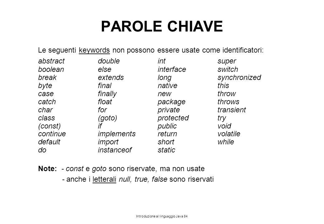 Introduzione al linguaggio Java 84 PAROLE CHIAVE Le seguenti keywords non possono essere usate come identificatori: abstractdoubleintsuper booleanelse