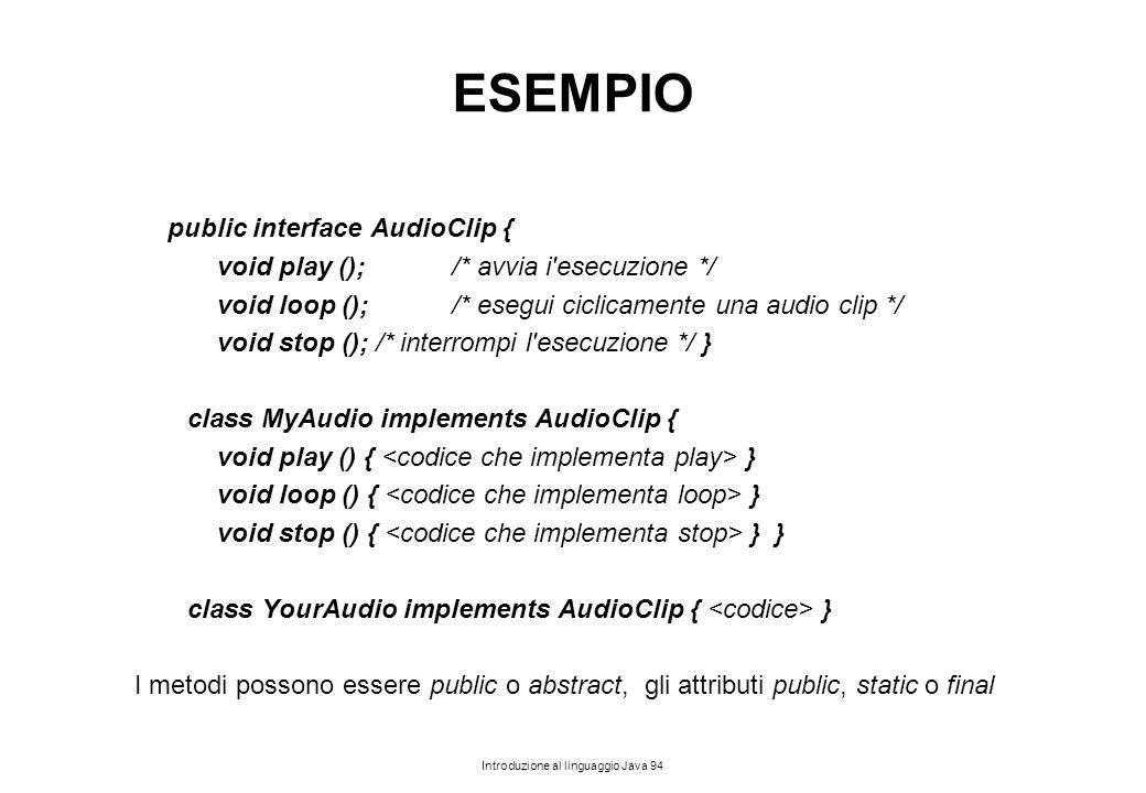 Introduzione al linguaggio Java 94 ESEMPIO public interface AudioClip { void play ();/* avvia i'esecuzione */ void loop ();/* esegui ciclicamente una