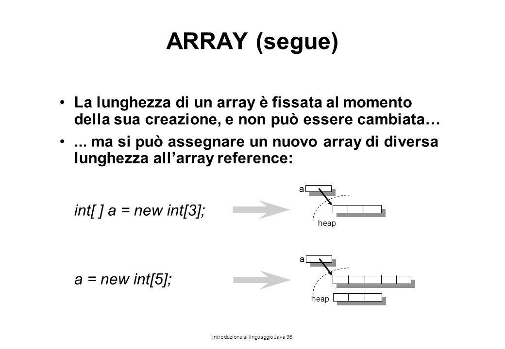 Introduzione al linguaggio Java 96 ARRAY (segue) La lunghezza di un array è fissata al momento della sua creazione, e non può essere cambiata…... ma s