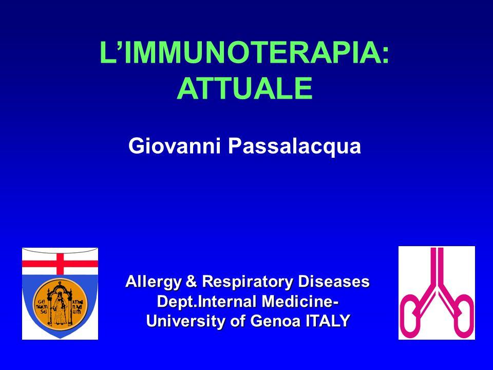 IMMUNOTERAPIA SPECIFICA (ITS) Somministrazione di estratti allergenici purificati (prima a dosi crescenti e poi a dose di mantenimento), al fine di ottenere la riduzione della risposta clinica all'allergene stesso.