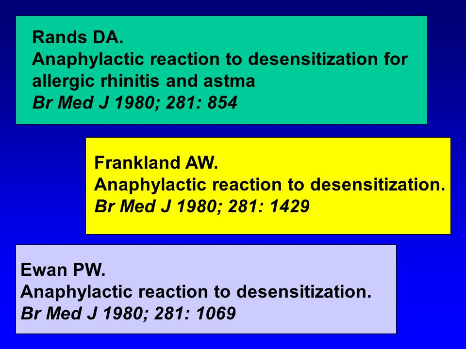 Rands DA. Anaphylactic reaction to desensitization for allergic rhinitis and astma Br Med J 1980; 281: 854 Ewan PW. Anaphylactic reaction to desensiti