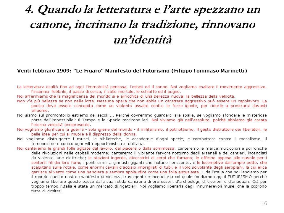 """16 Venti febbraio 1909: """"Le Figaro"""" Manifesto del Futurismo (Filippo Tommaso Marinetti) La letteratura esaltò fino ad oggi l'immobilità pensosa, l'est"""