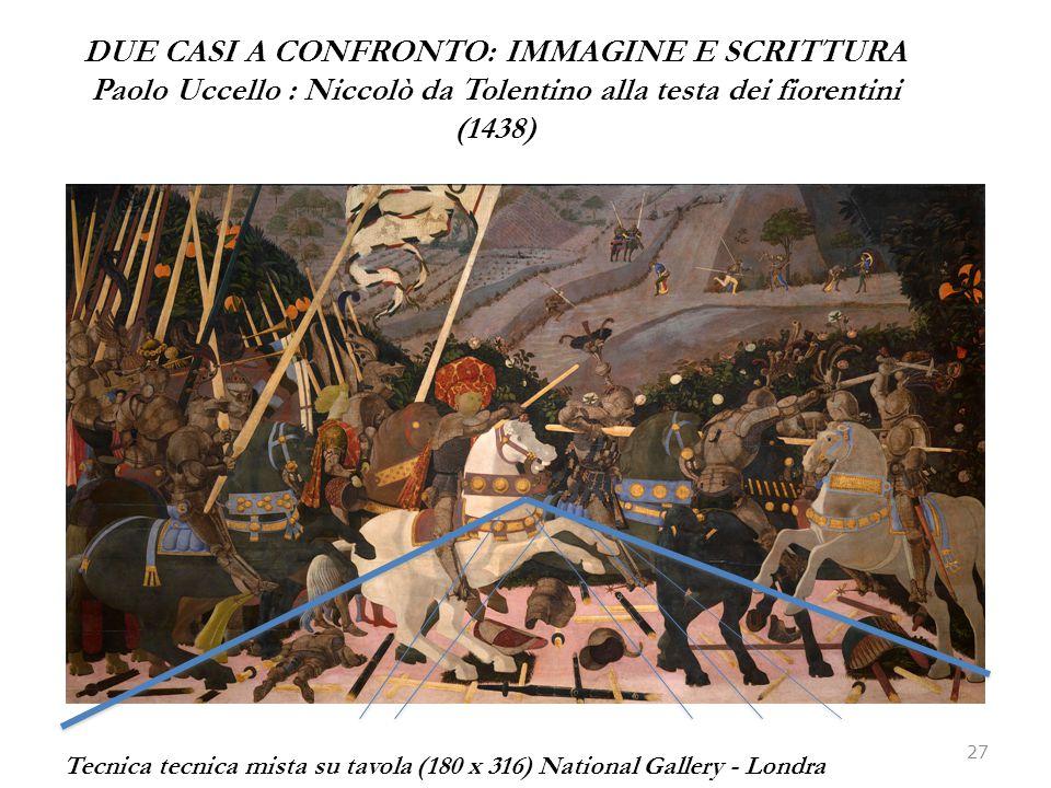 DUE CASI A CONFRONTO: IMMAGINE E SCRITTURA Paolo Uccello : Niccolò da Tolentino alla testa dei fiorentini (1438) 27 Tecnica tecnica mista su tavola (1