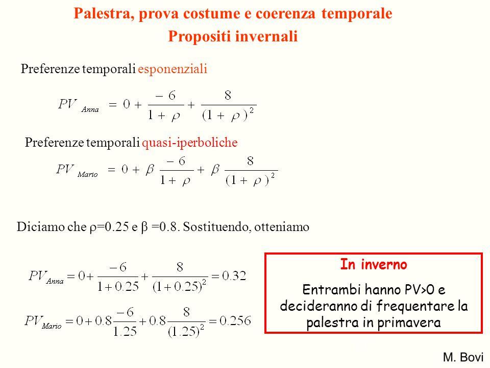 Preferenze temporali esponenziali Preferenze temporali quasi-iperboliche Diciamo che  =0.25 e β =0.8. Sostituendo, otteniamo In inverno Entrambi hann