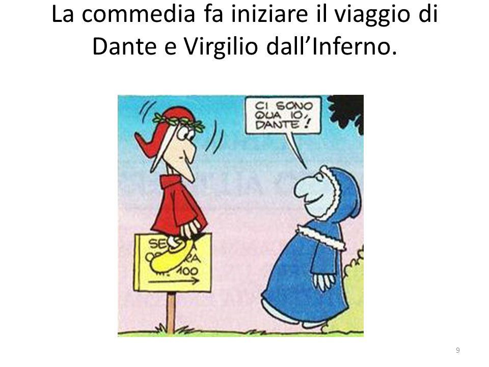 La commedia fa iniziare il viaggio di Dante e Virgilio dall'Inferno. 9