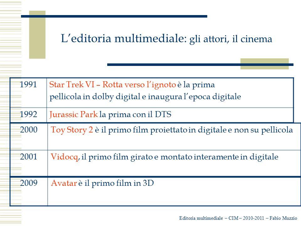 L'editoria multimediale: gli attori, il cinema Editoria multimediale – CIM – 2010-2011 – Fabio Muzzio 1991Star Trek VI – Rotta verso l'ignoto è la pri