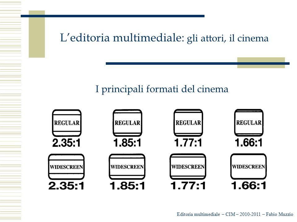 L'editoria multimediale: gli attori, il cinema Editoria multimediale – CIM – 2010-2011 – Fabio Muzzio I principali formati del cinema