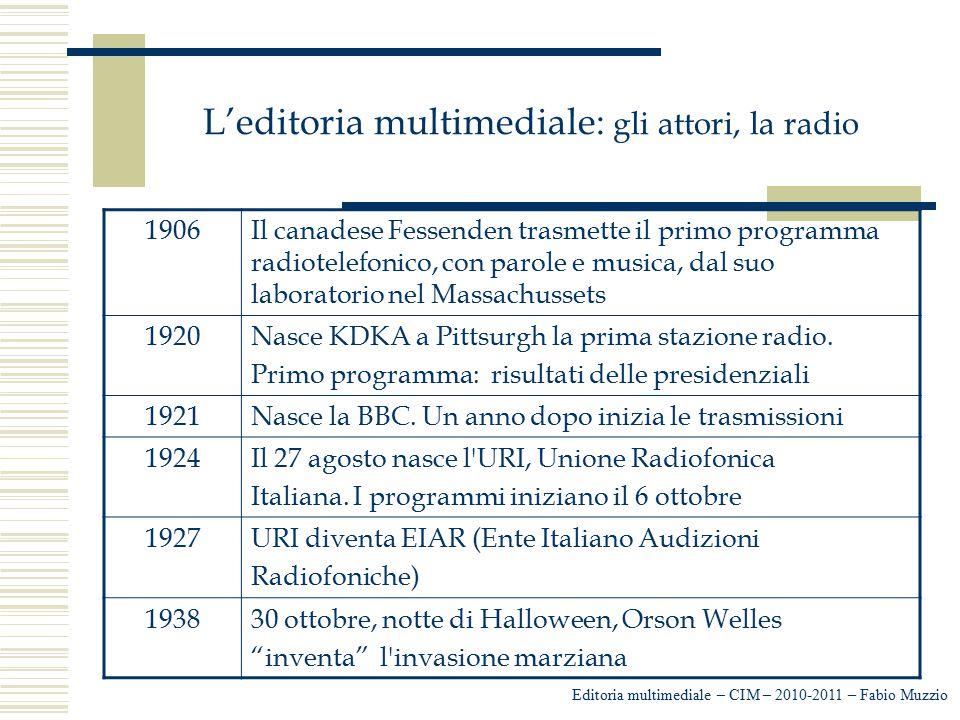L'editoria multimediale: gli attori, la radio Editoria multimediale – CIM – 2010-2011 – Fabio Muzzio 1906Il canadese Fessenden trasmette il primo prog