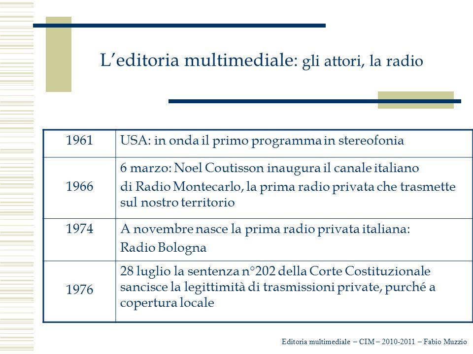 L'editoria multimediale: gli attori, la radio Editoria multimediale – CIM – 2010-2011 – Fabio Muzzio 1961USA: in onda il primo programma in stereofoni