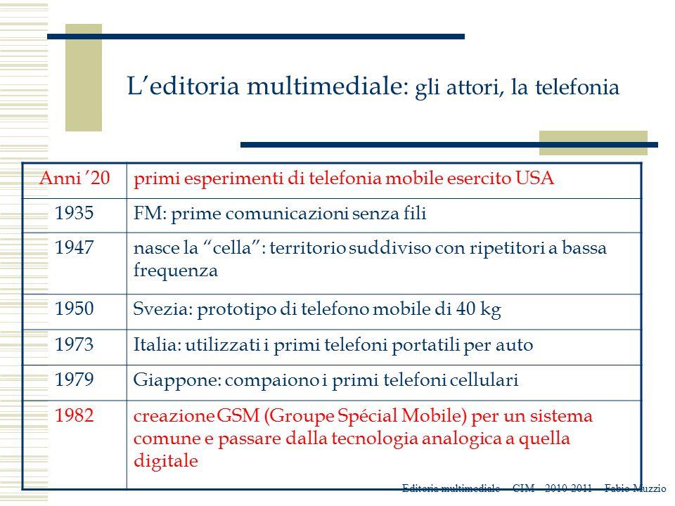 L'editoria multimediale: gli attori, la telefonia Editoria multimediale – CIM – 2010-2011 – Fabio Muzzio Anni '20primi esperimenti di telefonia mobile