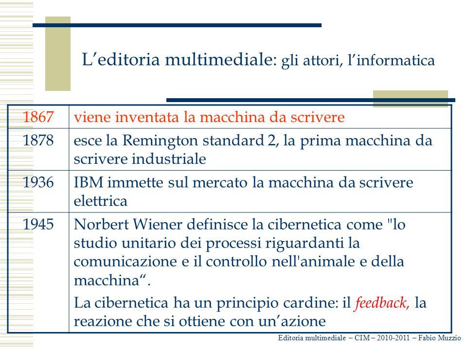 L'editoria multimediale: gli attori, l'informatica Editoria multimediale – CIM – 2010-2011 – Fabio Muzzio 1867viene inventata la macchina da scrivere