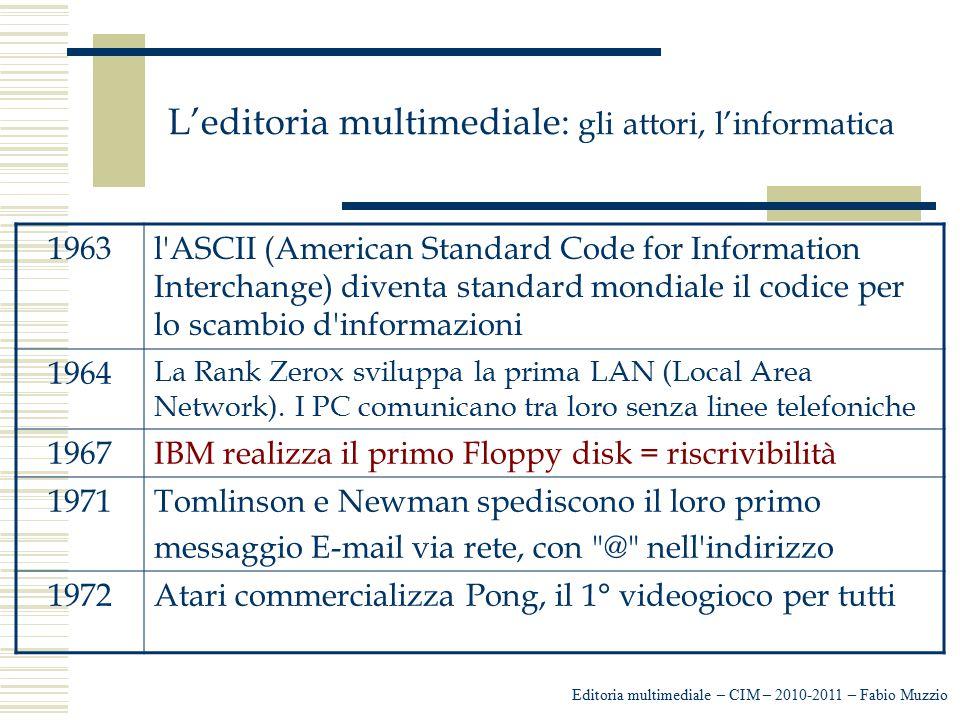 L'editoria multimediale: gli attori, l'informatica Editoria multimediale – CIM – 2010-2011 – Fabio Muzzio 1963l'ASCII (American Standard Code for Info