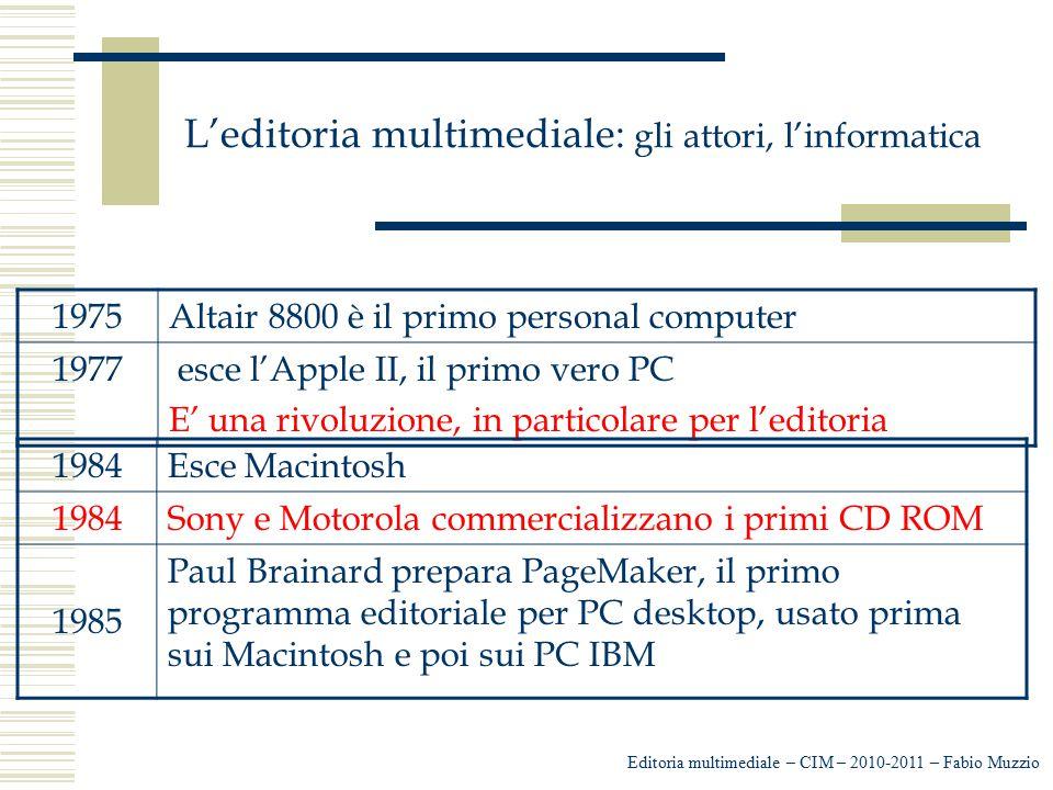 L'editoria multimediale: gli attori, l'informatica Editoria multimediale – CIM – 2010-2011 – Fabio Muzzio 1975Altair 8800 è il primo personal computer
