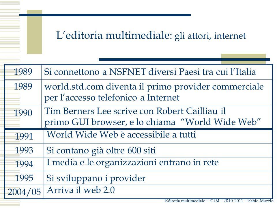 L'editoria multimediale: gli attori, internet Editoria multimediale – CIM – 2010-2011 – Fabio Muzzio 1989Si connettono a NSFNET diversi Paesi tra cui