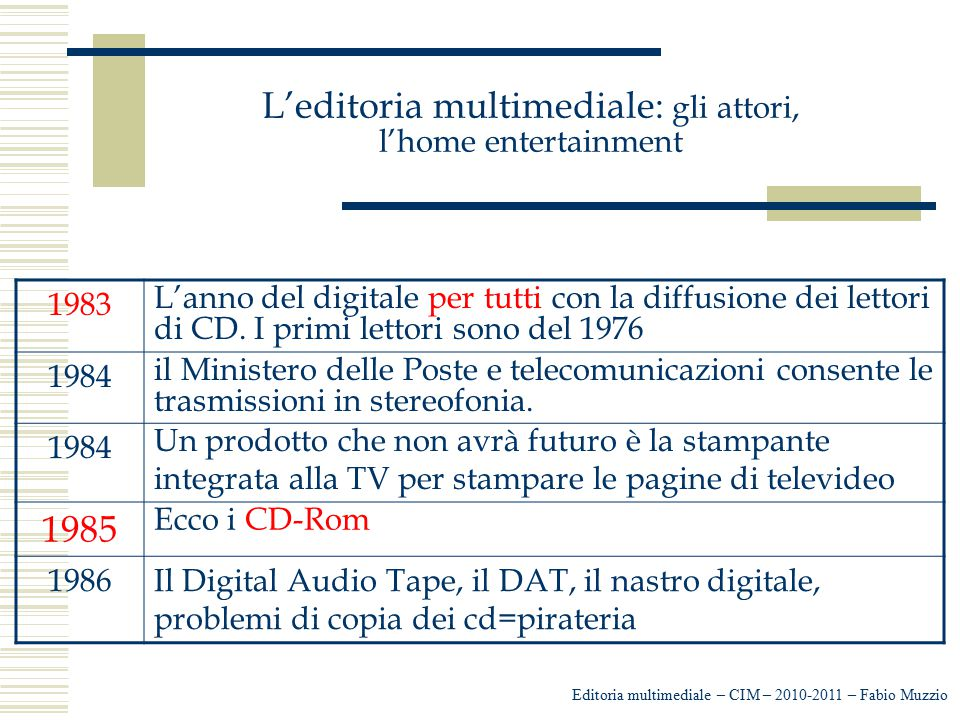 L'editoria multimediale: gli attori, l'home entertainment Editoria multimediale – CIM – 2010-2011 – Fabio Muzzio 1983 L'anno del digitale per tutti co