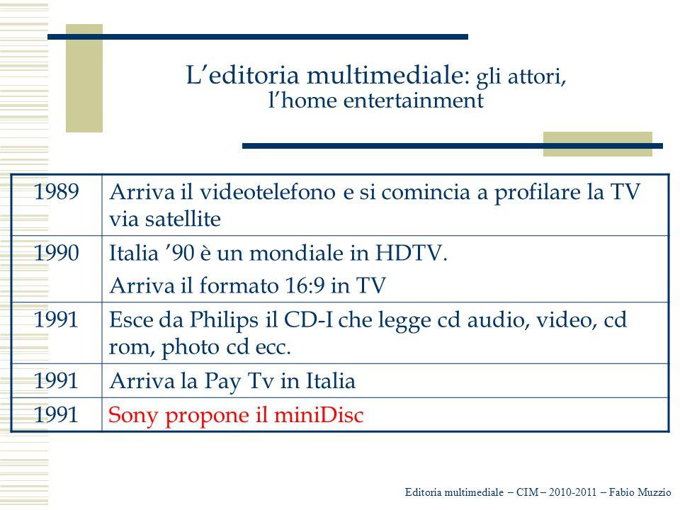 L'editoria multimediale: gli attori, l'home entertainment Editoria multimediale – CIM – 2010-2011 – Fabio Muzzio 1989Arriva il videotelefono e si comi