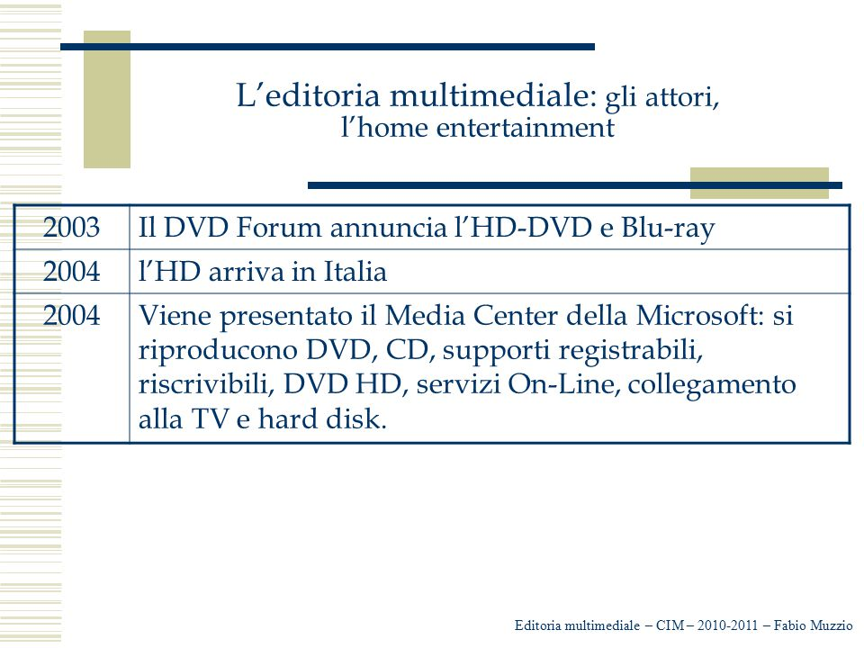 L'editoria multimediale: gli attori, l'home entertainment Editoria multimediale – CIM – 2010-2011 – Fabio Muzzio 2003Il DVD Forum annuncia l'HD-DVD e