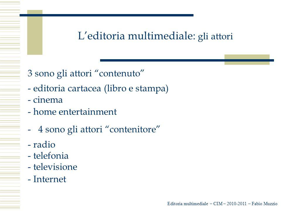 """L'editoria multimediale: gli attori 3 sono gli attori """"contenuto"""" - editoria cartacea (libro e stampa) - cinema - home entertainment -4 sono gli attor"""