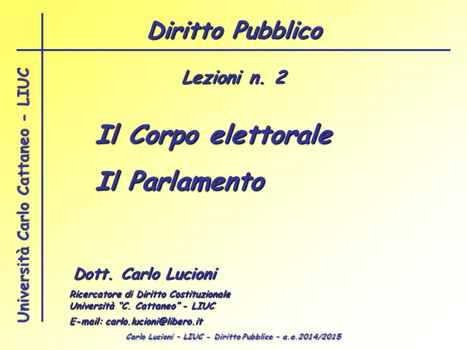 Carlo Lucioni – LIUC - Diritto Pubblico – a.a.2014/2015 Università Carlo Cattaneo - LIUC Il Corpo elettorale Il Parlamento Dott. Carlo Lucioni Ricerca