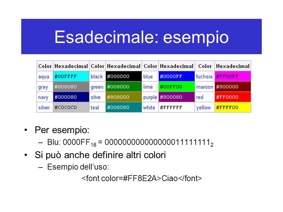 Esadecimale: esempio Per esempio: –Blu: 0000FF 16 = 000000000000000011111111 2 Si può anche definire altri colori –Esempio dell'uso: Ciao