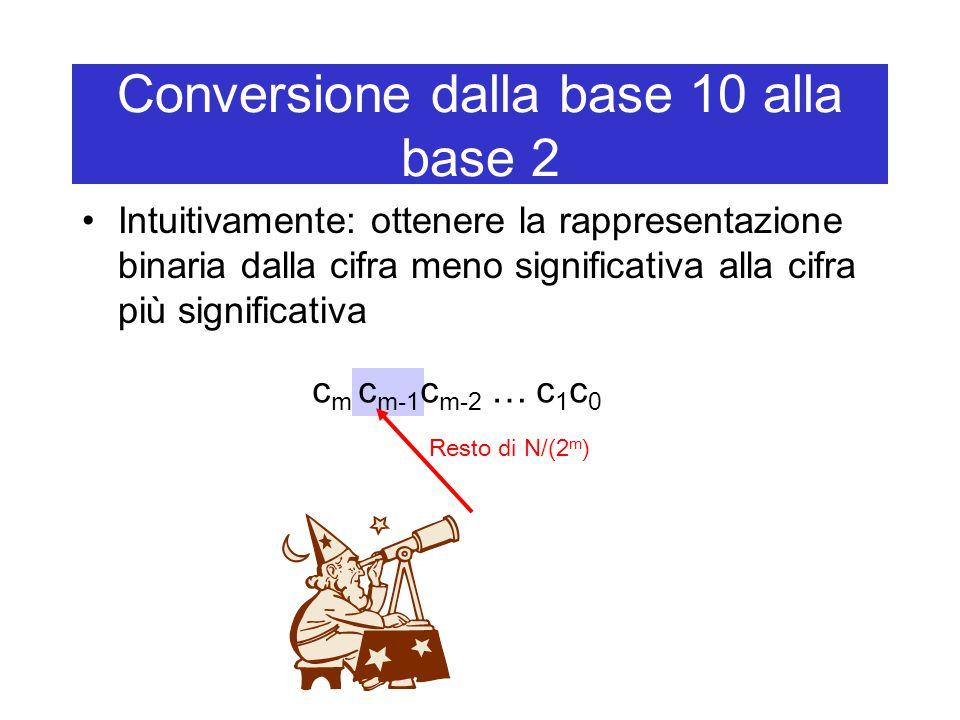 Conversione dalla base 10 alla base 2 Intuitivamente: ottenere la rappresentazione binaria dalla cifra meno significativa alla cifra più significativa c m c m-1 c m-2 … c 1 c 0 Resto di N/(2 m )