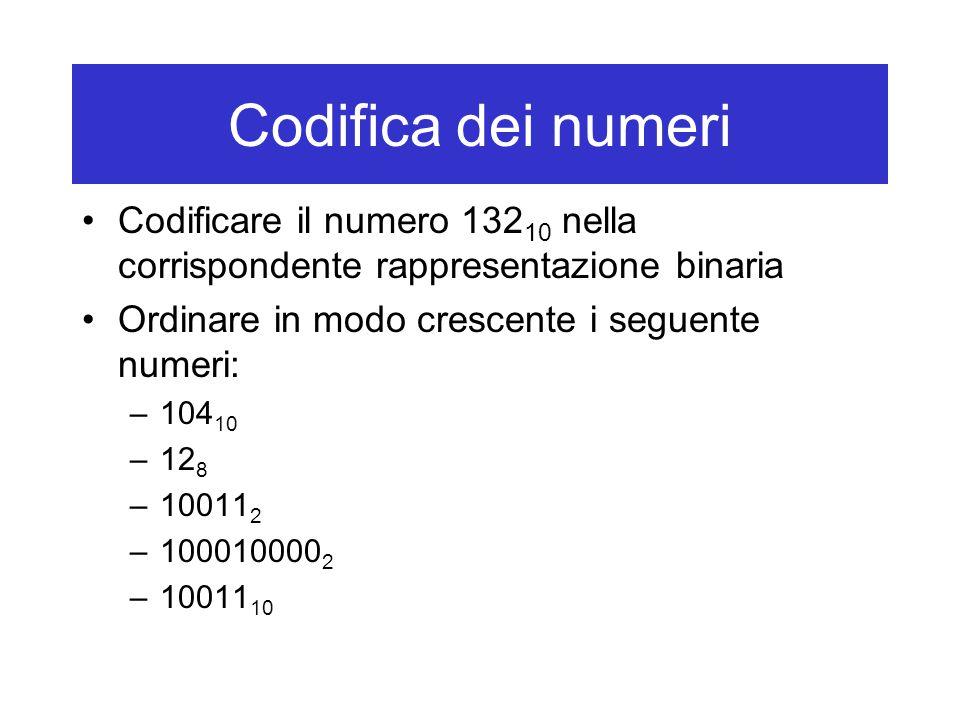 Codifica dei numeri Codificare il numero 132 10 nella corrispondente rappresentazione binaria Ordinare in modo crescente i seguente numeri: –104 10 –12 8 –10011 2 –100010000 2 –10011 10