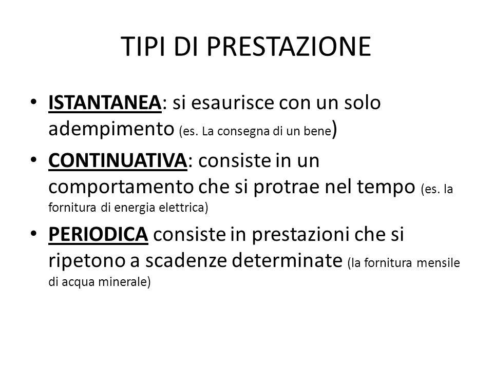 TIPI DI PRESTAZIONE ISTANTANEA: si esaurisce con un solo adempimento (es.