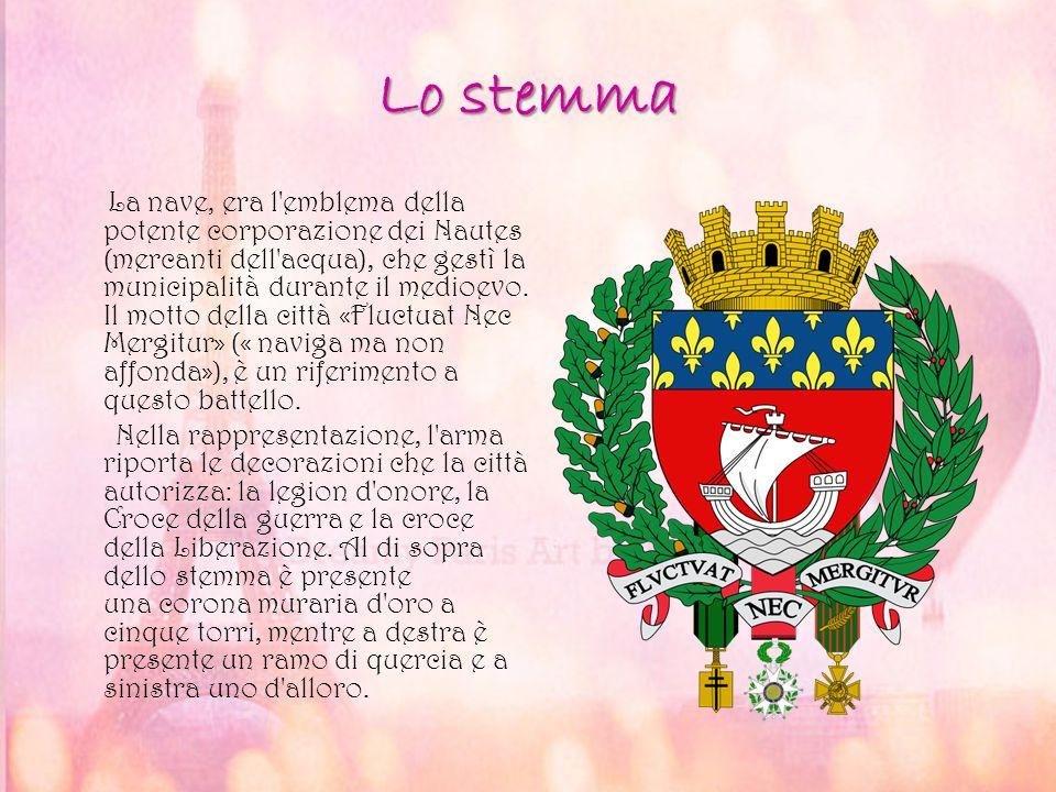 Lo stemma La nave, era l'emblema della potente corporazione dei Nautes (mercanti dell'acqua), che gestì la municipalità durante il medioevo. Il motto