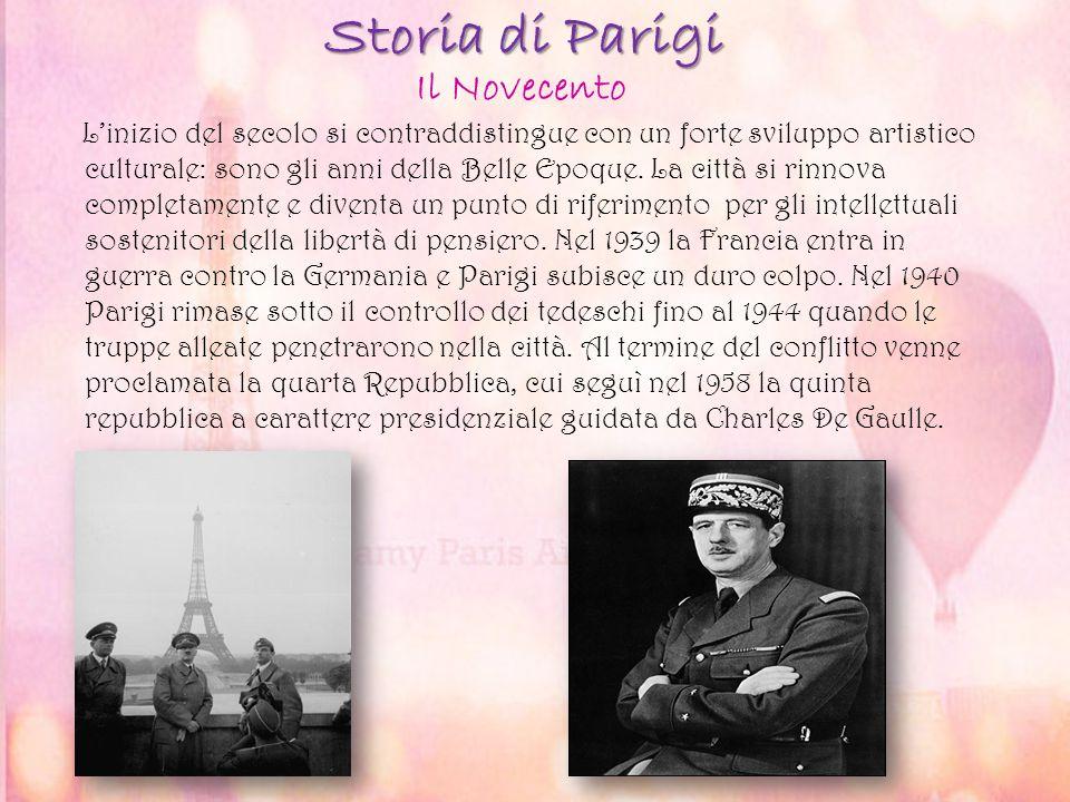 Storia di Parigi L'inizio del secolo si contraddistingue con un forte sviluppo artistico culturale: sono gli anni della Belle Epoque. La città si rinn