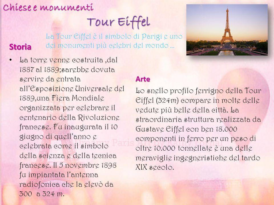 Tour Eiffel Storia La torre venne costruita,dal 1887 al 1889;sarebbe dovuta servire da entrata all'Esposizione Universale del 1889,una Fiera Mondiale