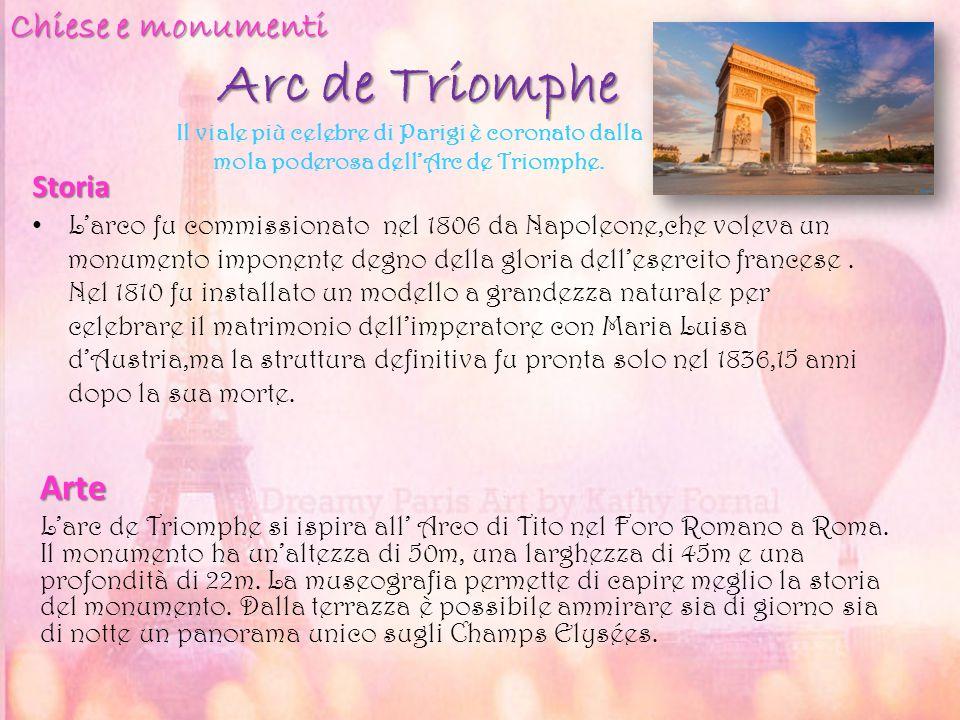 Arc de Triomphe Storia Arte L'arc de Triomphe si ispira all' Arco di Tito nel Foro Romano a Roma. Il monumento ha un'altezza di 50m, una larghezza di