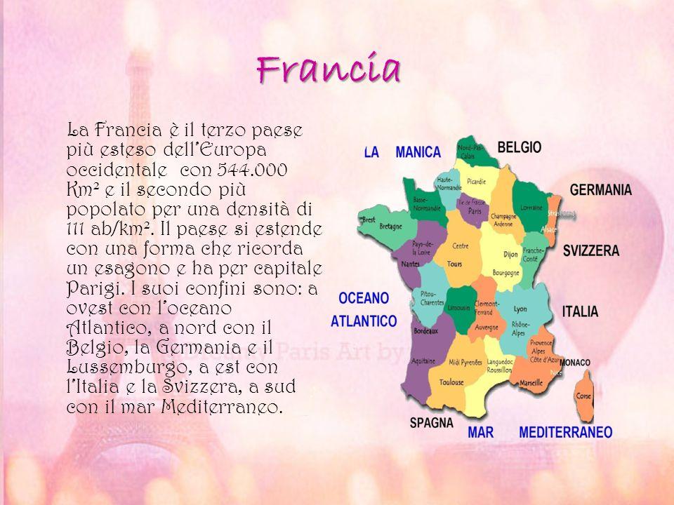 Francia La Francia è il terzo paese più esteso dell'Europa occidentale con 544.000 Km ² e il secondo più popolato per una densità di 111 ab/km ². Il p